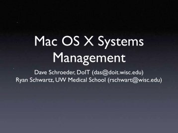 Mac OS X Systems Management - DoIT Apple Support Server