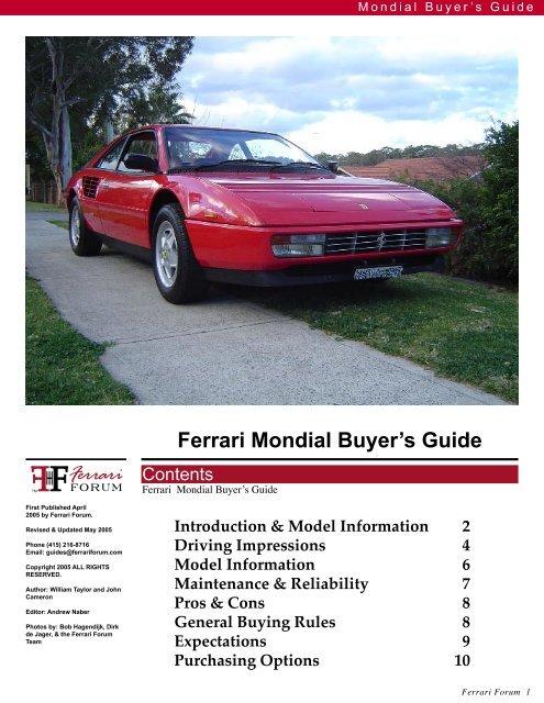 Ferrari Mondial Buyer's Guide - Ferrari Owners Club Florida Region