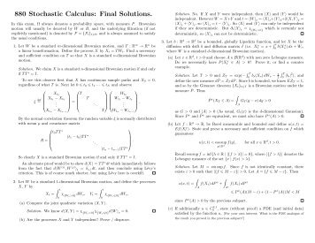 880 Stochastic Calculus: Final Solutions.
