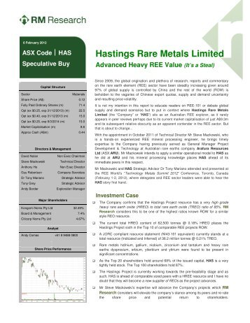 RM Research Report - Hastings Rare Metals Limited