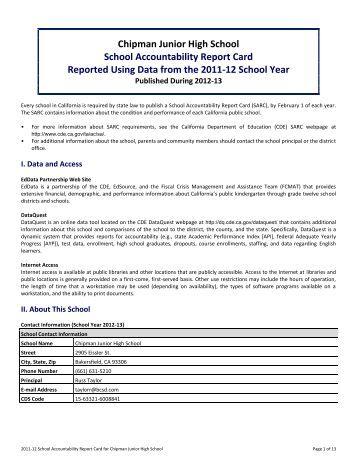 Chipman Junior High School School Accountability Report Card ...