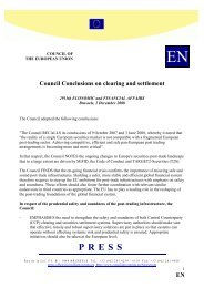 E Council Conclusions on clearing and settlement - Europa