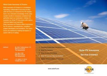 Solar Insurance Service Contract