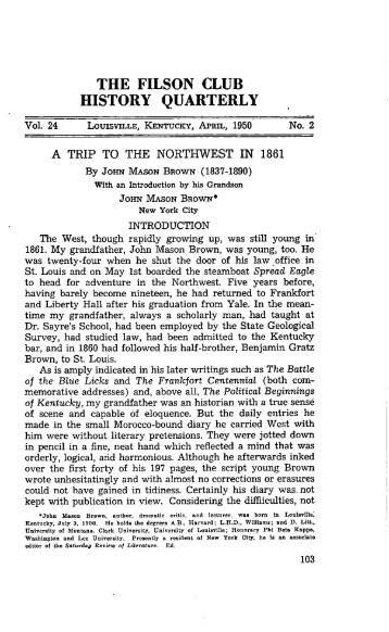 the filson club history quarterly - The Filson Historical Society
