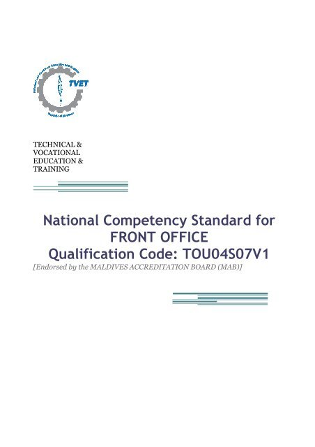 National Competency Standard for FRONT OFFICE - TVET Maldives
