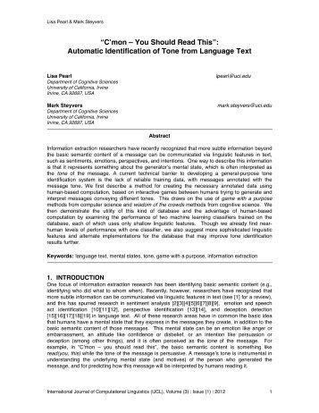 C'mon – You Should Read This - School of Social Sciences ...
