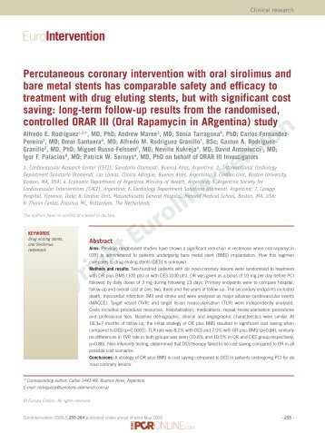 Percutaneous coronary intervention with oral sirolimus and bare ...
