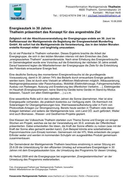 Energieautark in 30 Jahren Thalheim präsentiert das Konzept für ...