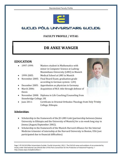 dr anke wanger education - Euclid University