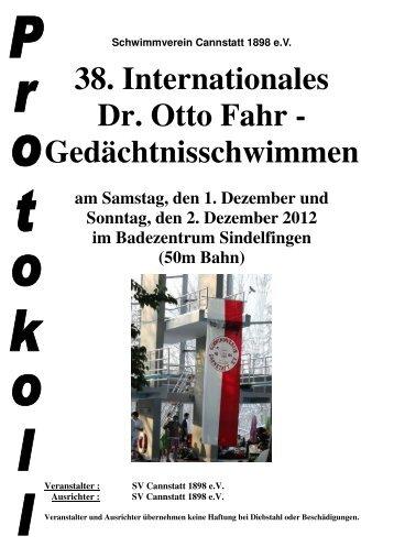 38. Internationales Dr. Otto Fahr - Gedächtnisschwimmen