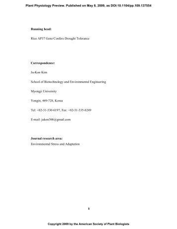 Ju-Kon Kim School of Biotechnology and ... - Plant Physiology