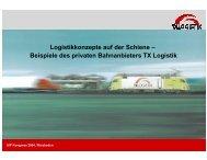Beispiele des privaten Bahnanbieters TX Logistik - UIP
