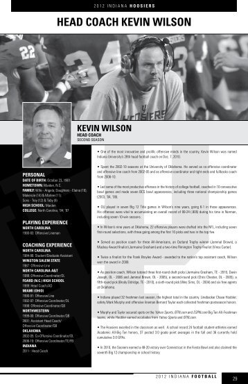 HEAd COACH KEvIn WILSOn