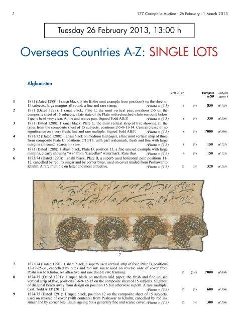 Overseas Countries A-Z: SINGLE LOTS - Corinphila