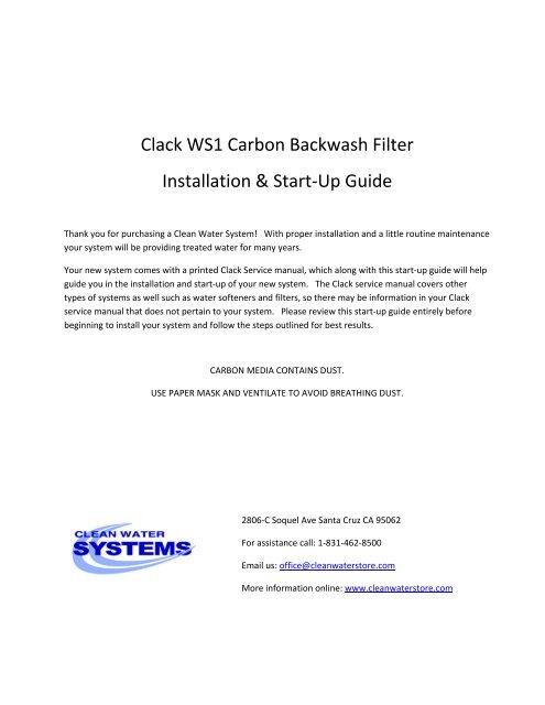 Clack WS1 Carbon Backwash Filter Installation & Start-Up Guide