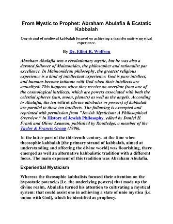 From Mystic to Prophet: Abraham Abulafia & Ecstatic Kabbalah