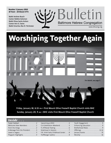 January 2013 Bulletin - Baltimore Hebrew Congregation