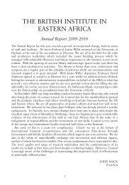 The BIEA Annual Report - British Institute in Eastern Africa