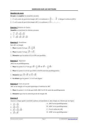 Exercices supplémentaires : Vecteurs et translations