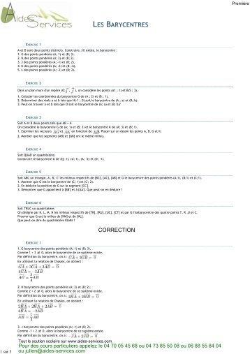 Première, 6 exercices corrigés sur les barycentres - Aides Services