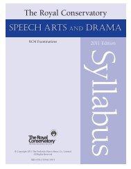 Speech Arts and Drama Syllabus, 2011 Online Publication - RCM ...