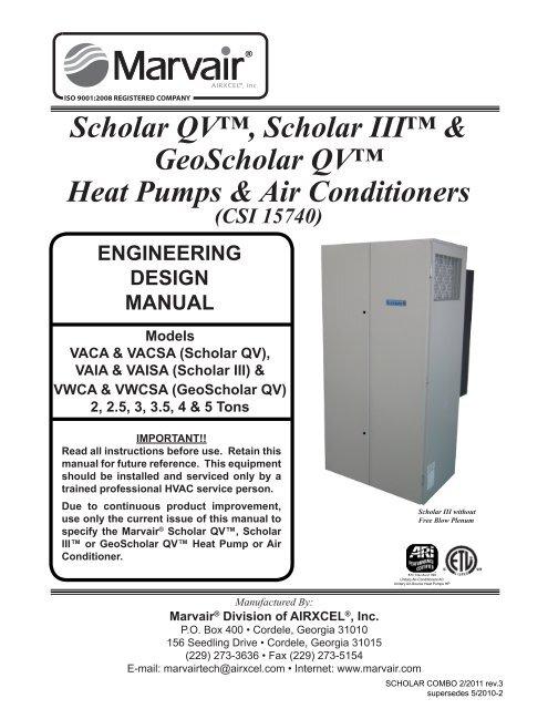 Scholar III, Scholar QV and GeoScholar QV Engineering - Marvair