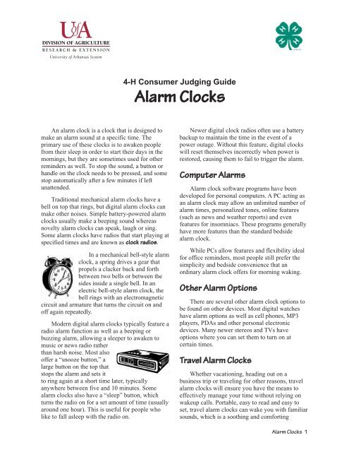Alarm Clocks - 4-H Consumer Judging Guide - 4-H Arkansas