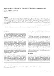 Public Disclosure of Healthcare Performance Information and Its ...