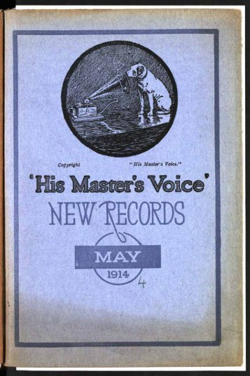 His Master's Voice New Records Catalogue May 1914