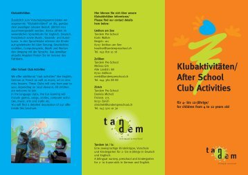 Klubaktivitäten/ After School Club Activities