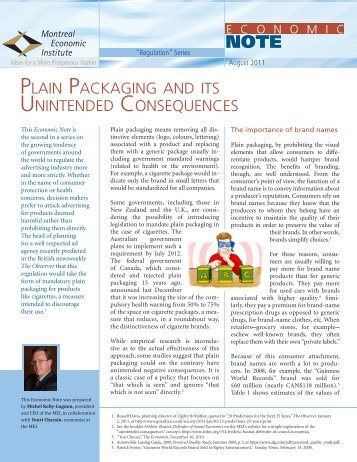 Plain Packaging and its Unintended Consequences - IEDM