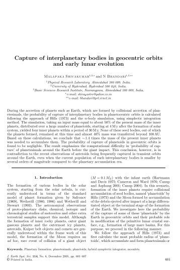 Capture of interplanetary bodies in geocentric orbits and early lunar ...