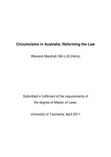 Circumcision in Australia: Reforming the Law - UTas ePrints ...