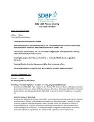 2012 SDBP Annual Meeting Tentative Schedule - The Society for ...