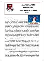 ALLOA ACADEMY NEWSLETTER November/DECEMBER 2011
