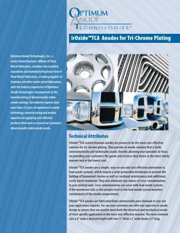 IrOxide™TCA Anodes for Tri-Chrome Plating - Anodes Technology ...