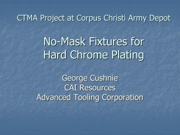 No-Mask Fixtures for Hard Chrome Plating
