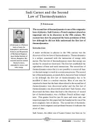 Sadi Carnot and the Second Law of Thermodynamics - Indian ...