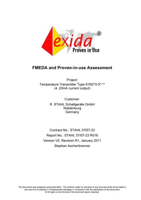 FMEDA and Proven-in-use Assessment - r. stahl