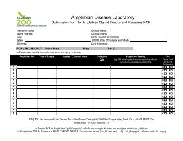 Submission Form CHYTRID and RANAVIRUS ... - San Diego Zoo