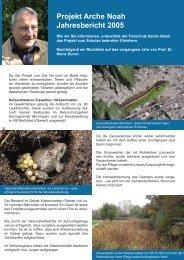 Projekt Arche Noah Jahresbericht 2005 - Tierschutz beider Basel