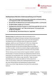Stadtsparkasse München: Gewinnausweitung um 22 Prozent