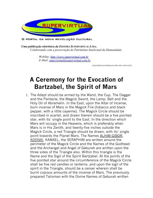 A Ceremony for the Evocation of Bartzabel, the Spirit of