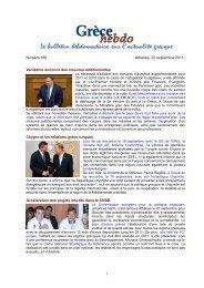 Numéro 166 Athènes, 22 septembre 2011 Vénizélos annonce des ...