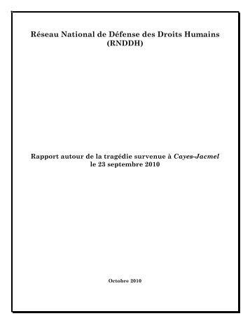Rapport Cayes Jacmel 2010 - Réseau National de Défense des ...