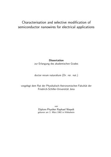 Characterisation and selective modification of semiconductor ...
