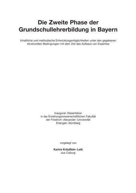 Die Zweite Phase Der Grundschullehrerbildung In Bayern Opus