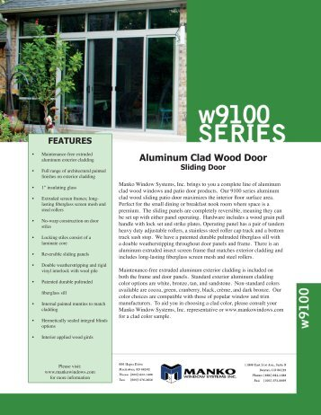 Aluminum Clad Wood Door - Manko Windows