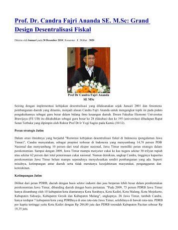 Prof. Dr. Candra Fajri Ananda SE. M.Sc - Universitas Brawijaya
