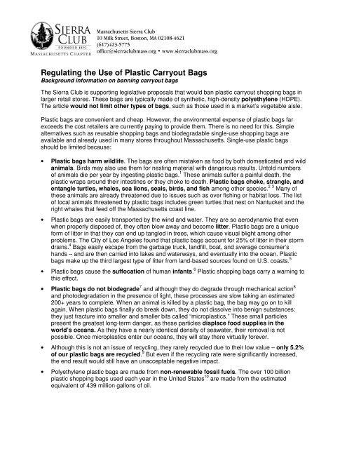 Sierra Club factsheet on Plastic Bags - Massachusetts Sierra
